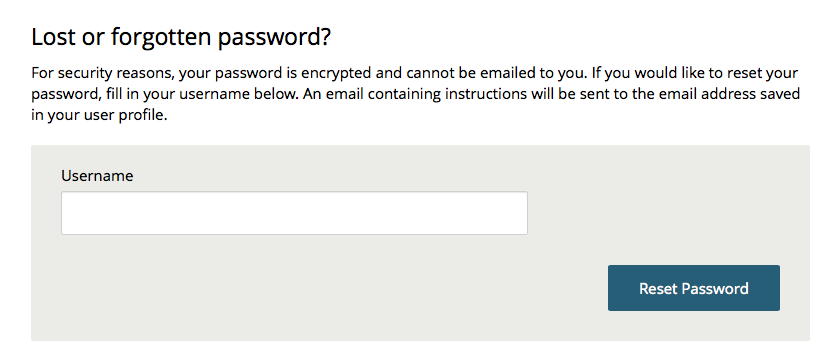 image showing the box for users to enter their username to request a password reset email