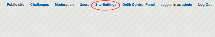 image of the admin side of Dialogue with the site settings link circled in red