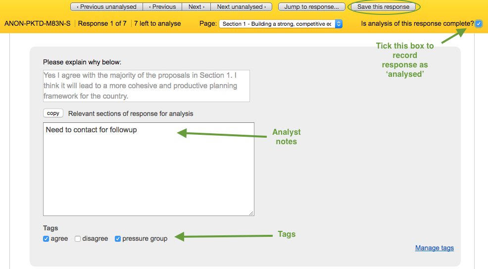 analyse responses screen with notes and tags