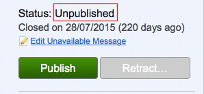 consultation dashboard with the word 'unpublished highlighted