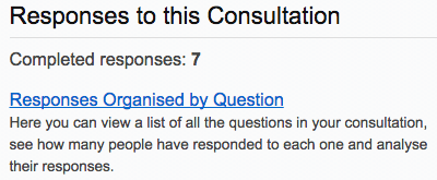 screenshot of responses organised by question link