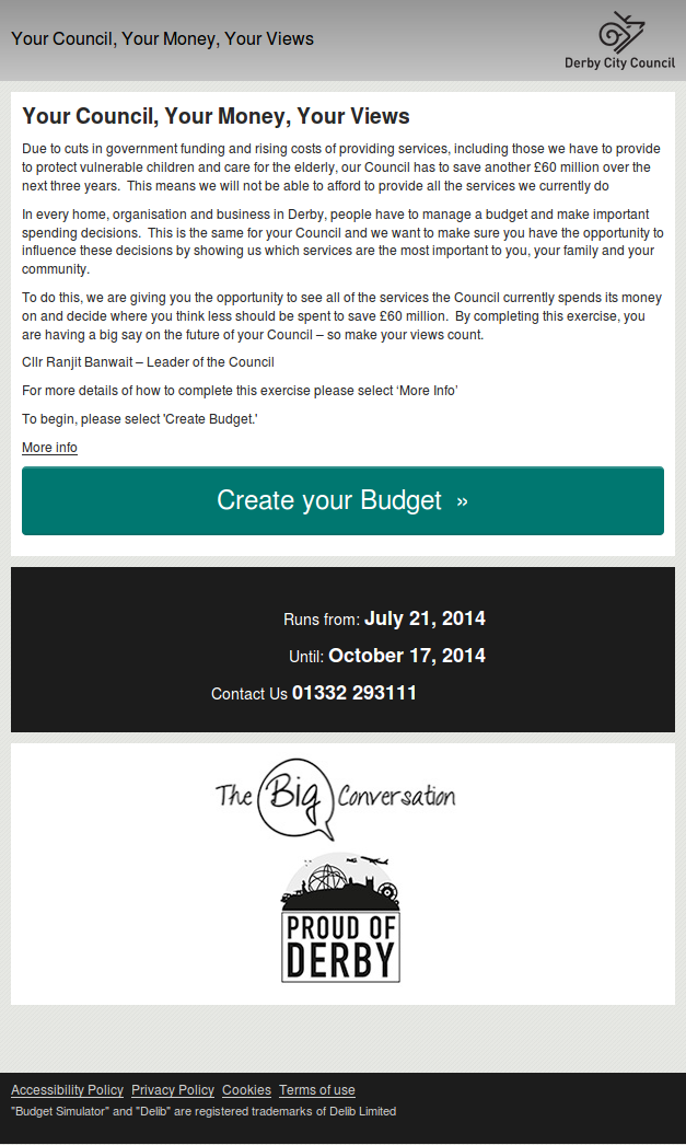 Derby City Council Budget Simulator homepage mobile