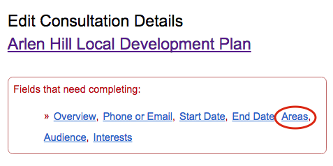 image of the top of the 'edit consultation details' screen, showing the links for the different sections of the page. The 'Areas' link is circled in red