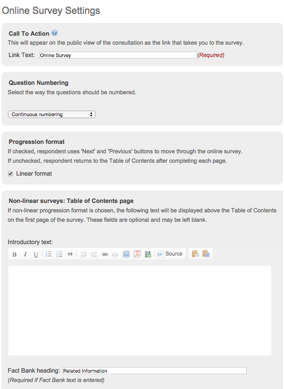 image of the online survey settings page showing the palces to change the link text, question numbering options, progression format change and intro text box