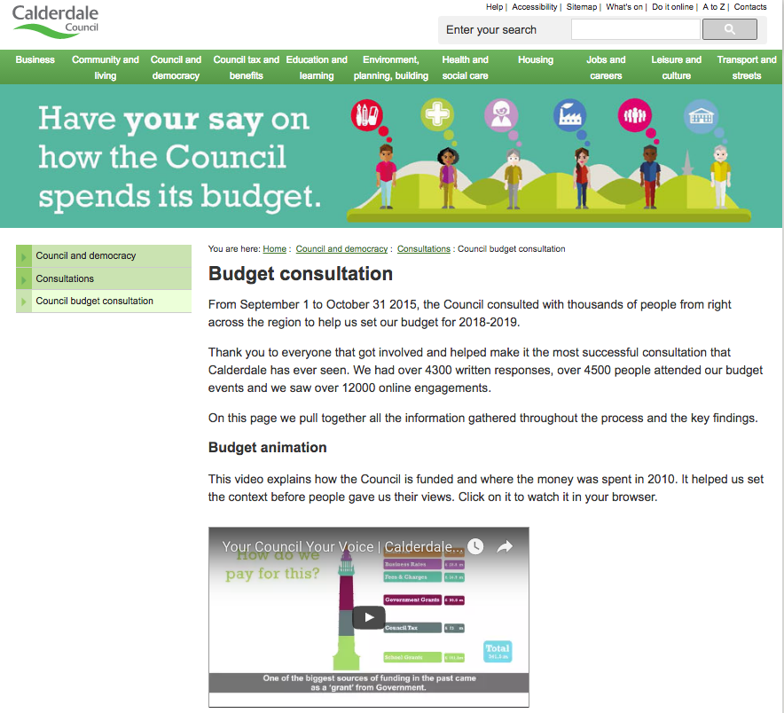calderdale council website budget information page