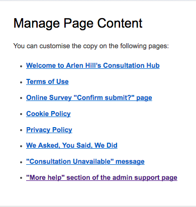 image of the manage page content editable pages list which contains all the static pages you can change