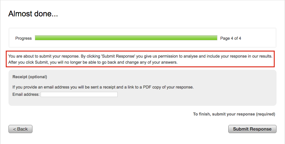 image showing the confirm submit page with the editable text outlined in red above the email address collection field and the submit response button
