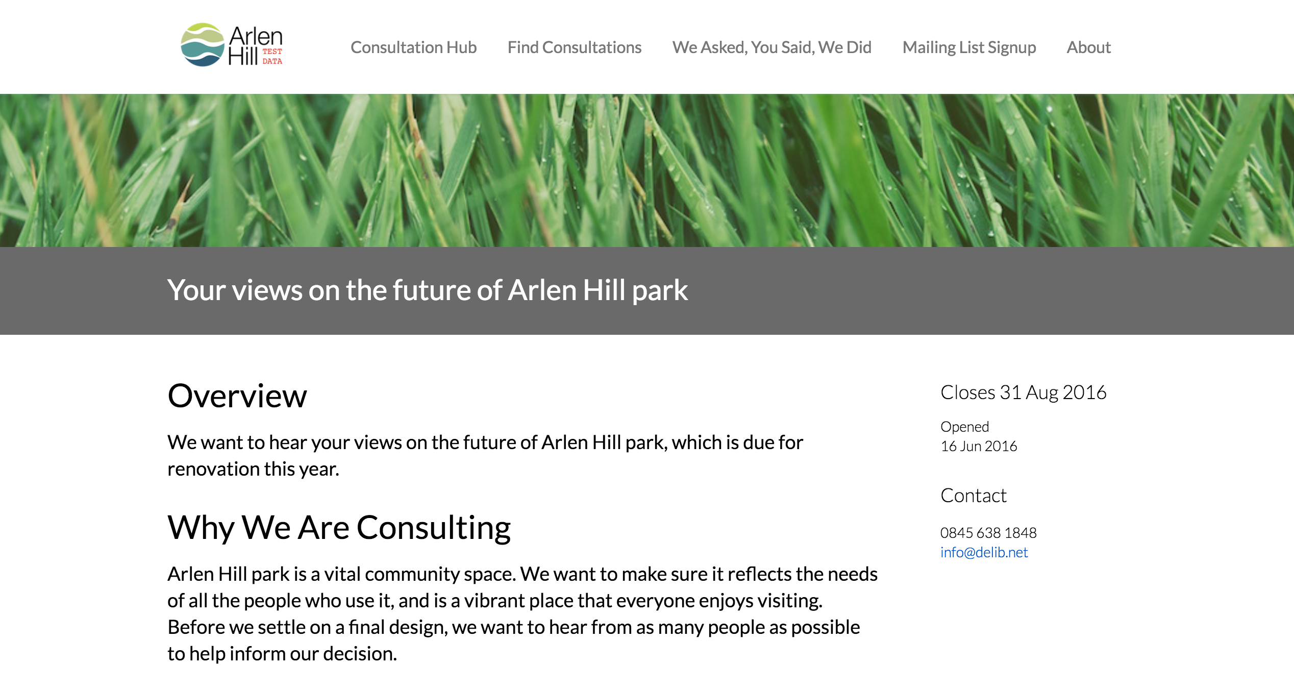 image of a consultation oveview showing a banner image of grass and the consultation title in grey