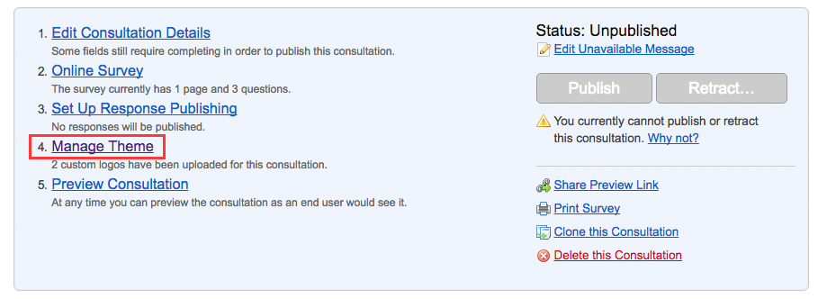 image of the consultation dashboard with option 4 - manage theme - highlighted in red