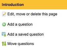 image of the list of page options including the option to 'Add a question' second on the list