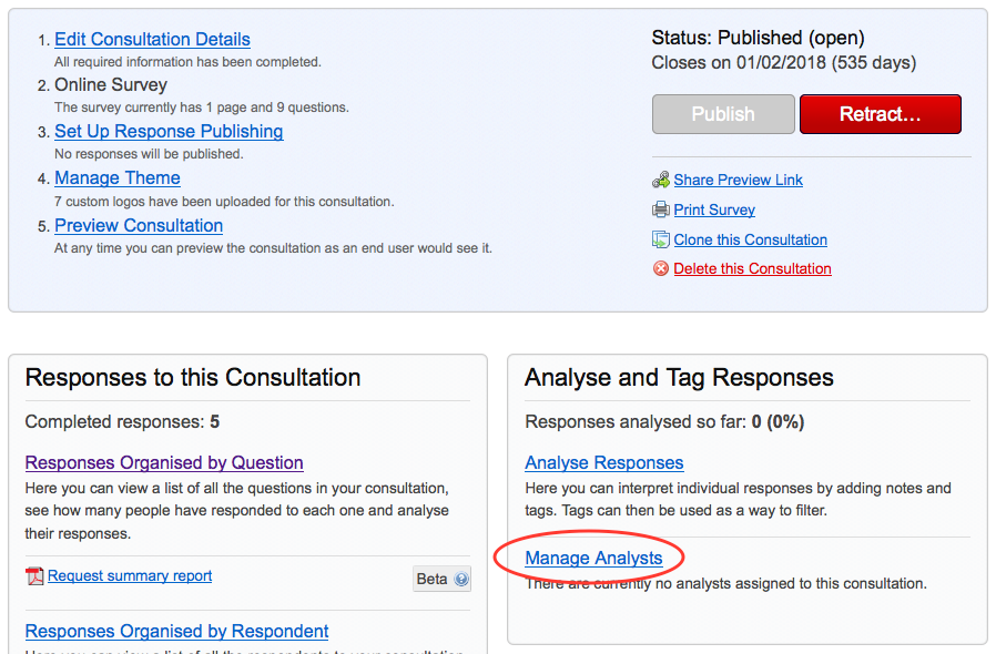 The top of the consultation dashboard with the 'manage analysts' section circled in red.