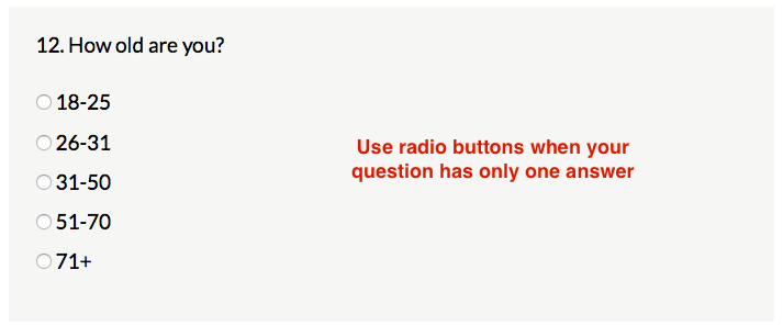 Example of question with radio button options