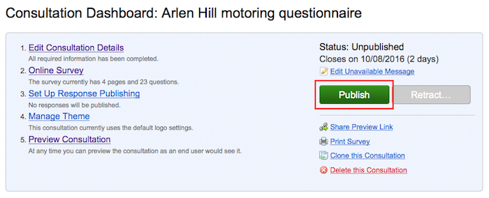 Consultation dashboard with green 'Publish' button outlined in red.