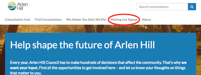 Citizen Space homepage with Mailing list signup circled in navigation menu bar.