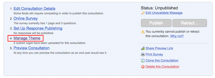 Screenshot showing the consultation dashboard with option 4 in the menu Manage Theme highlighted