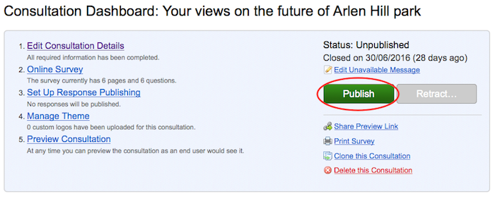 Screenshot of the consultation dashboard with the green Publish button highlighted